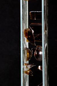 sandblasted glass mirror and broken glass