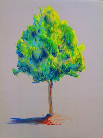 small tree rendered in pastel
