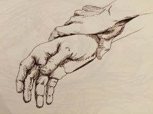 two hands grasping at the wrist