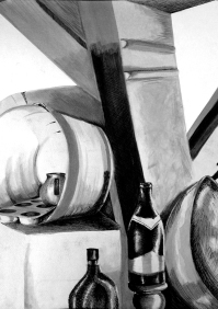 Wood and Metal Still Life, India Ink on Scrathmore paper